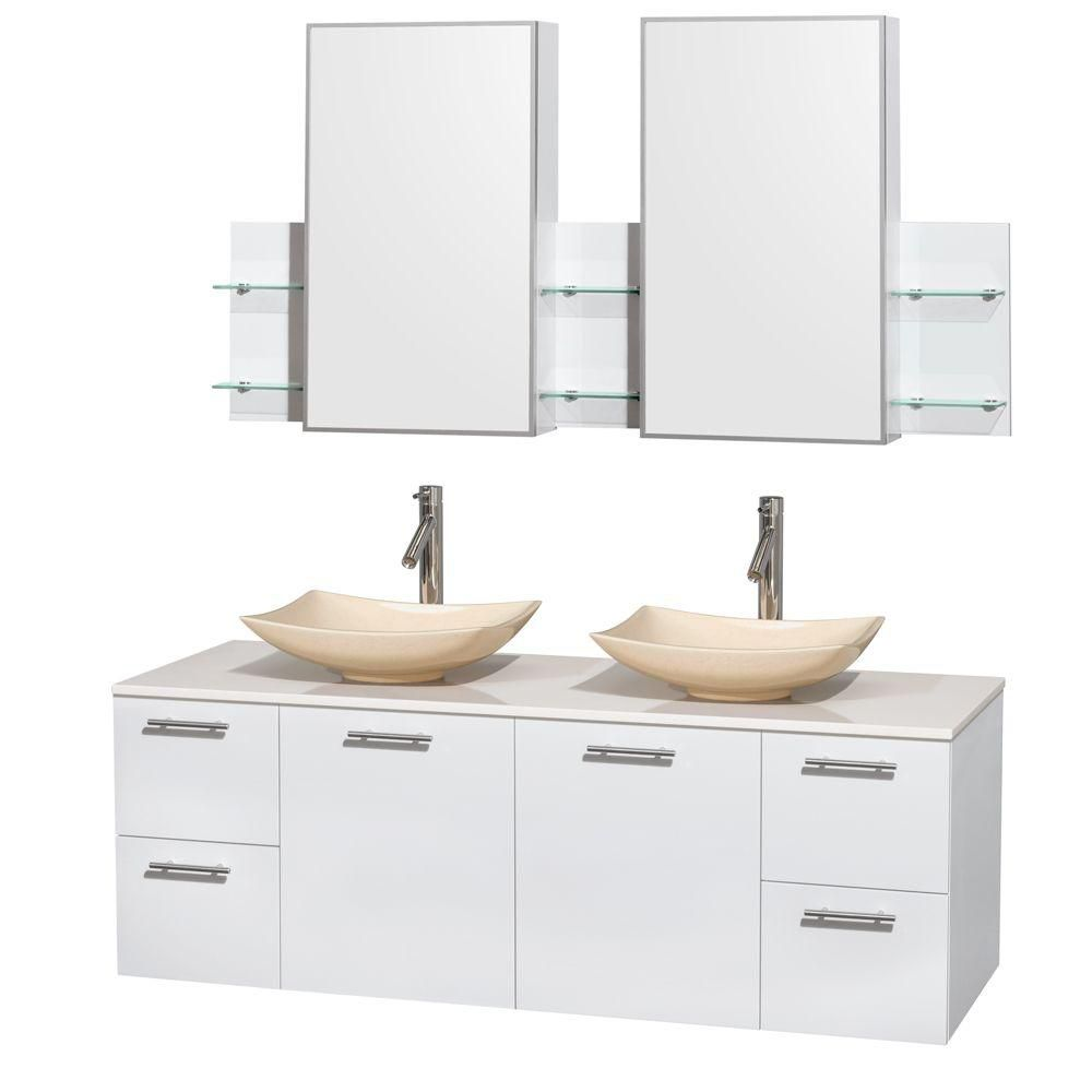 Amare 60-inch W Double Vanity in White with Solid Top with Ivory Basins and Medicine Cabinet