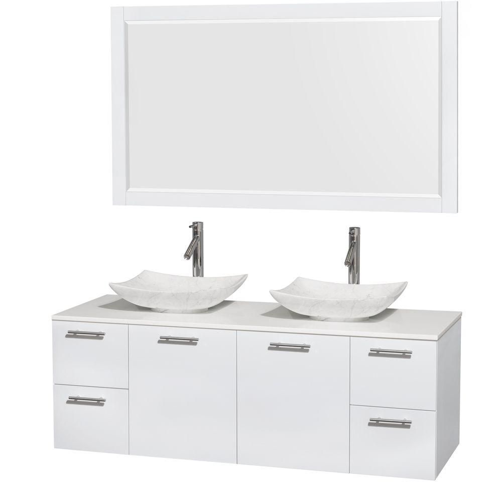 Amare 60-inch W Double Vanity in White with Solid Top with White Basins and Mirror