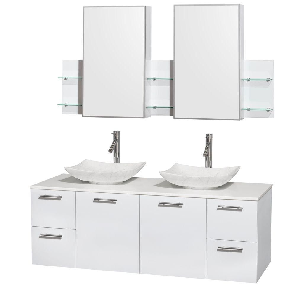 Amare 60-inch W Double Vanity in White with Solid Top with White Basins and Medicine Cabinet