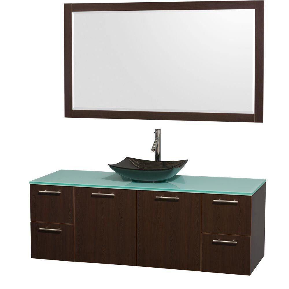 Amare 60-inch W Vanity in Espresso with Glass Top with Black Basin and Mirror
