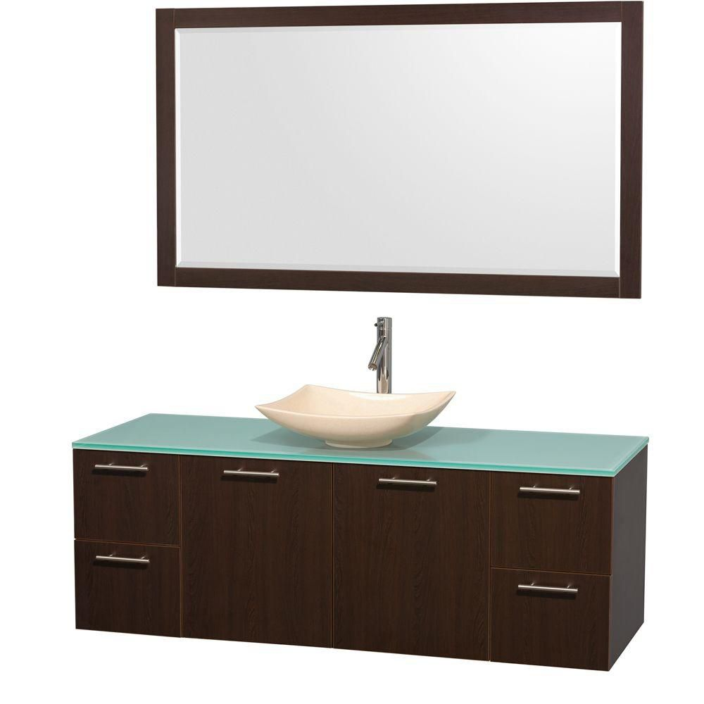 Amare 60-inch W Vanity in Espresso with Glass Top with Ivory Basin and Mirror