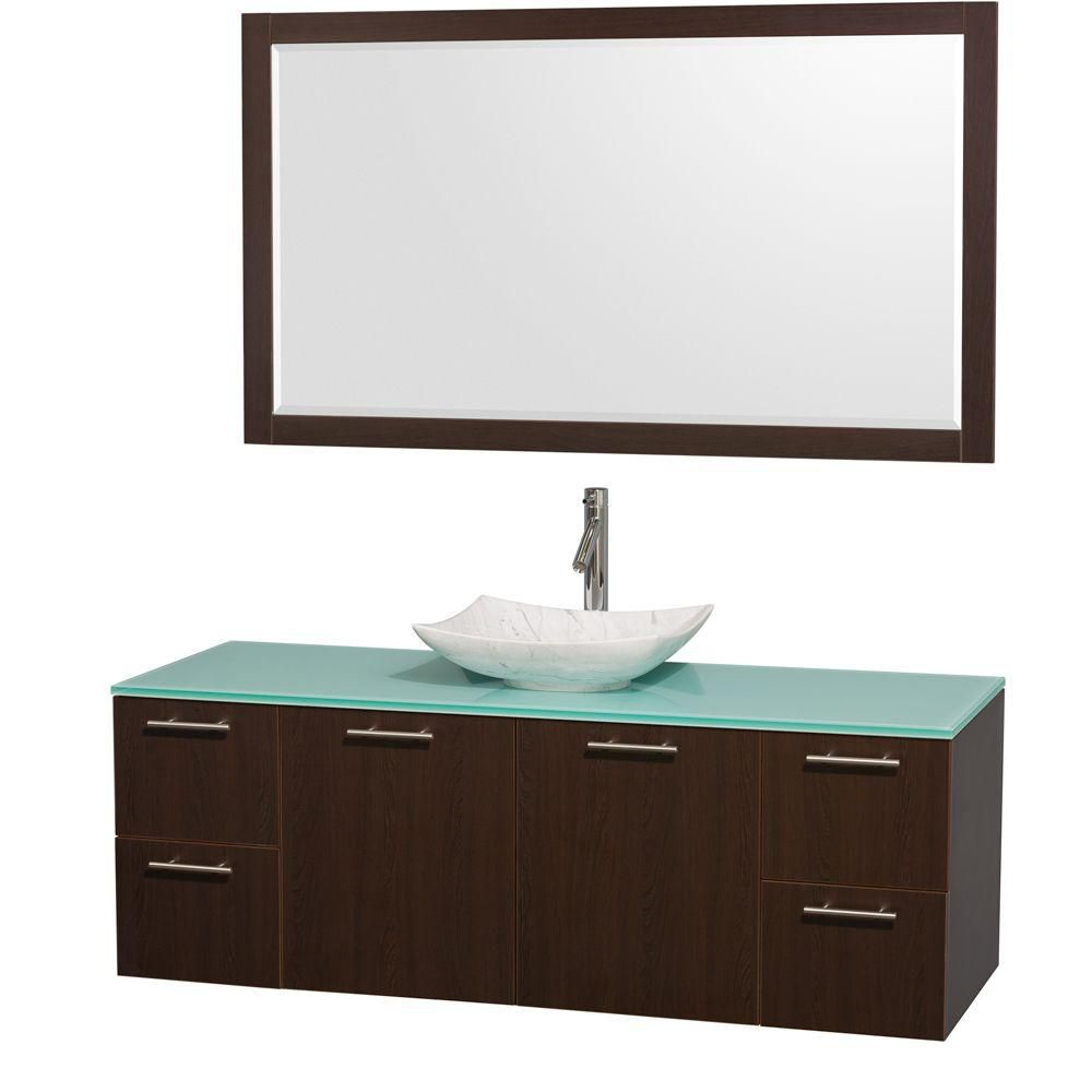 Amare 60-inch W Vanity in Espresso with Glass Top with White Basin and Mirror