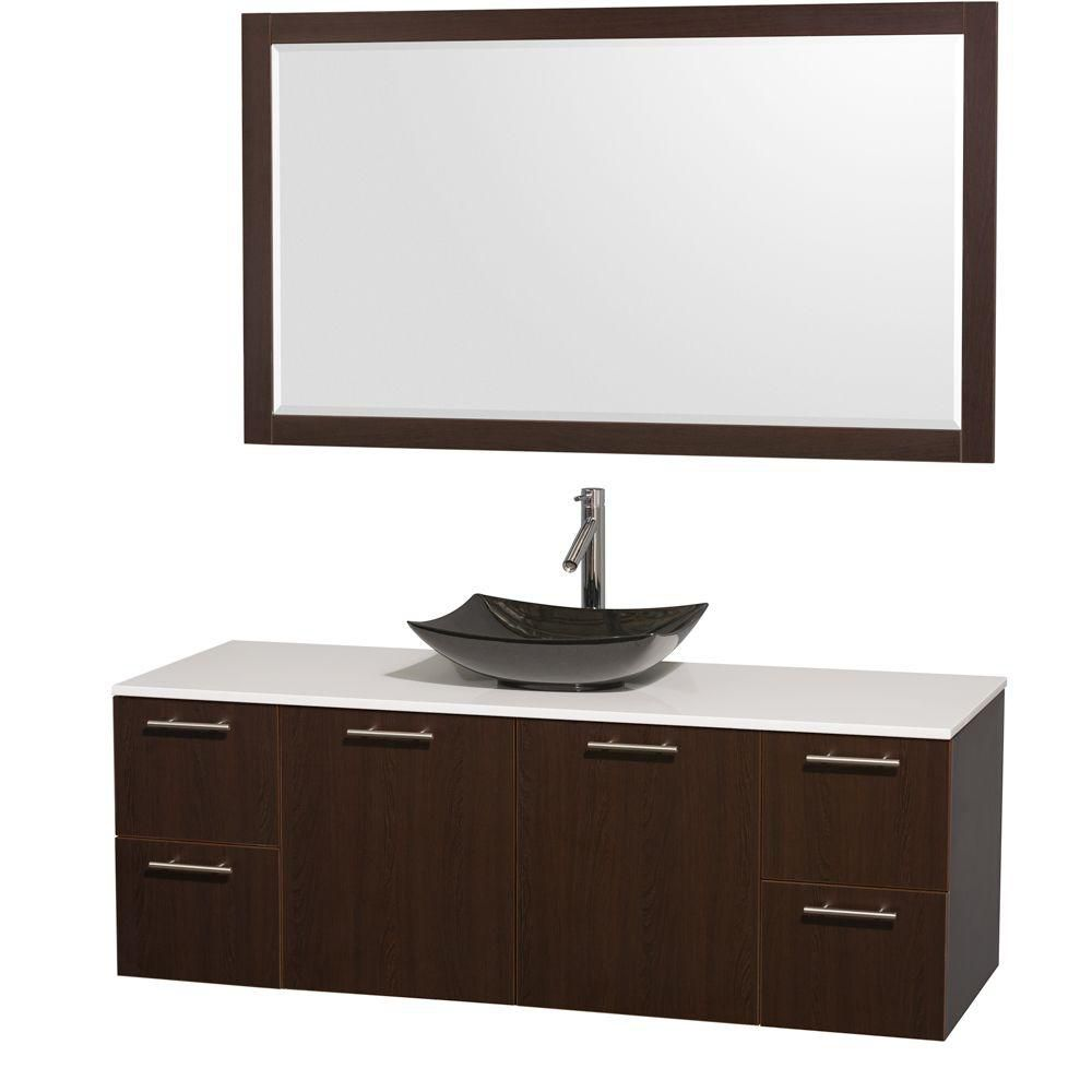 Amare 60-inch W Vanity in Espresso with Solid Top with Black Basin and Mirror