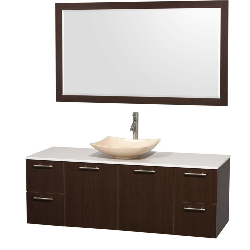 Amare 60-inch W Vanity in Espresso with Solid Top with Ivory Basin and Mirror