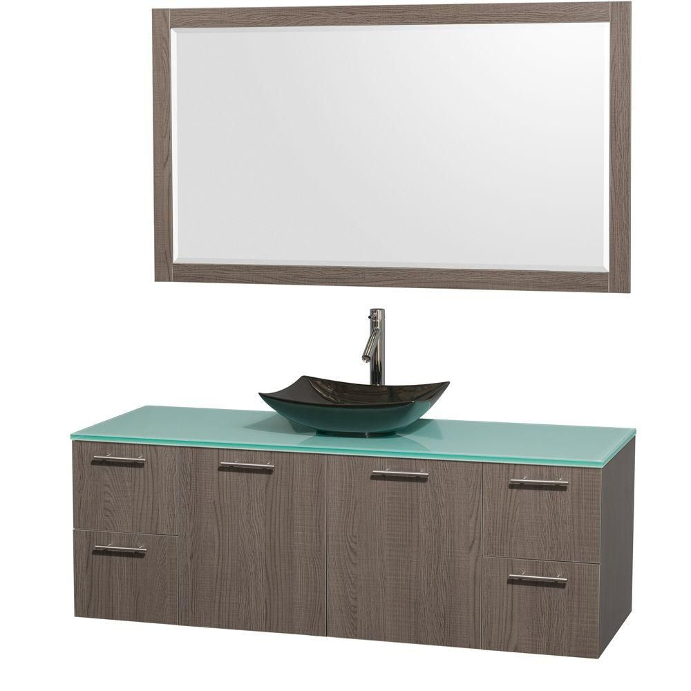Amare 60-inch W Vanity in Grey Oak with Glass Top with Black Basin and Mirror