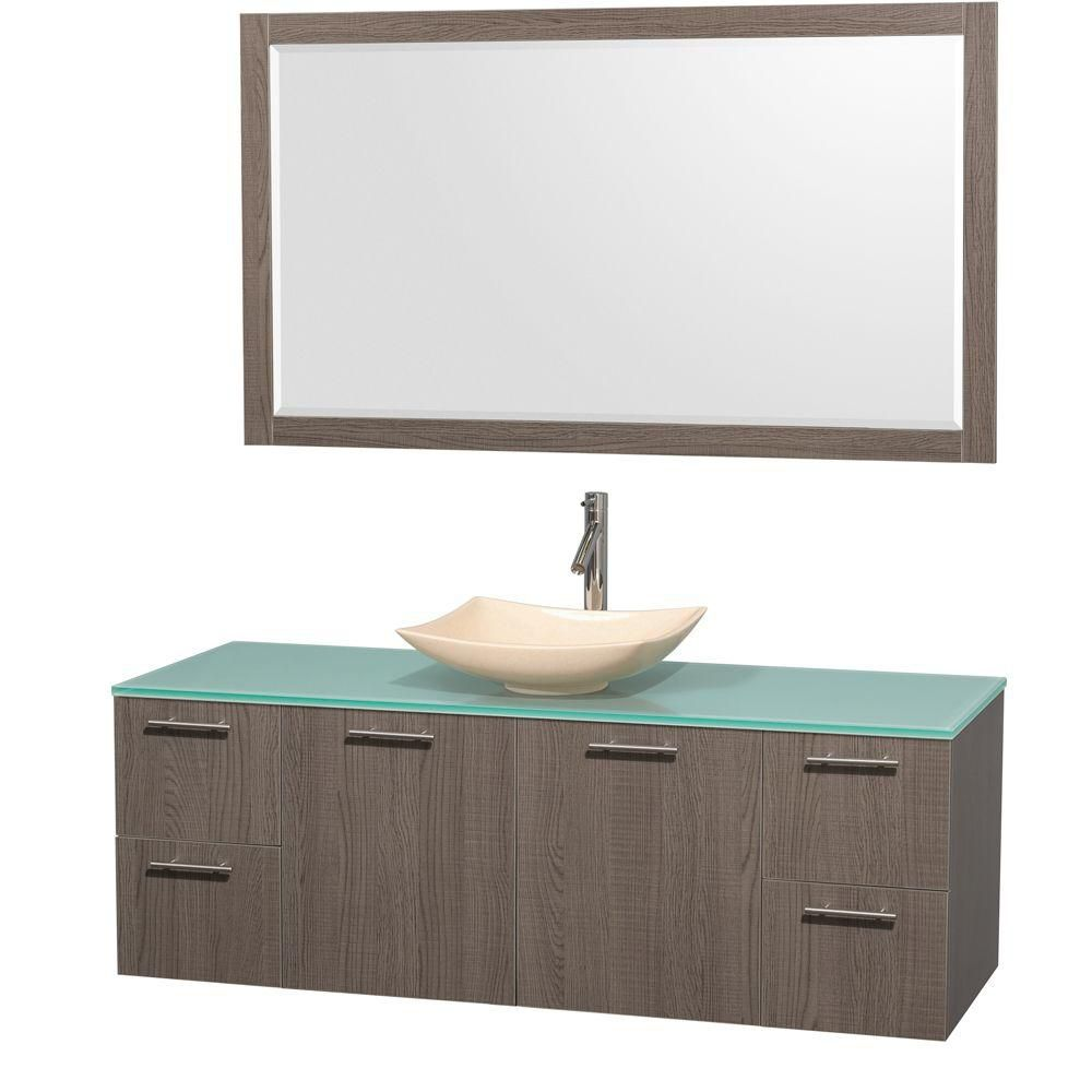 Amare 60-inch W Vanity in Grey Oak with Glass Top with Ivory Basin and Mirror