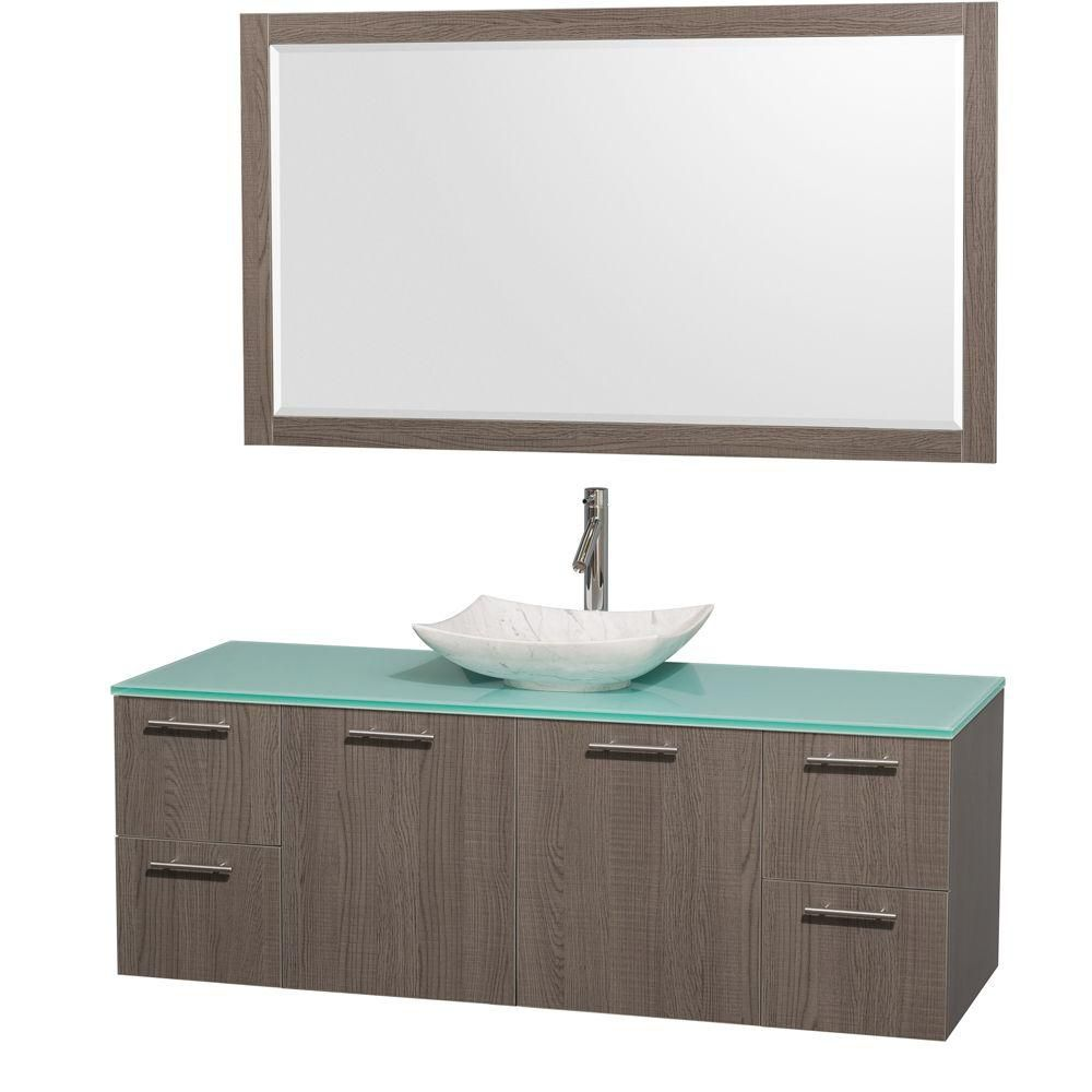 Amare 60-inch W Vanity in Grey Oak with Glass Top with White Basin and Mirror