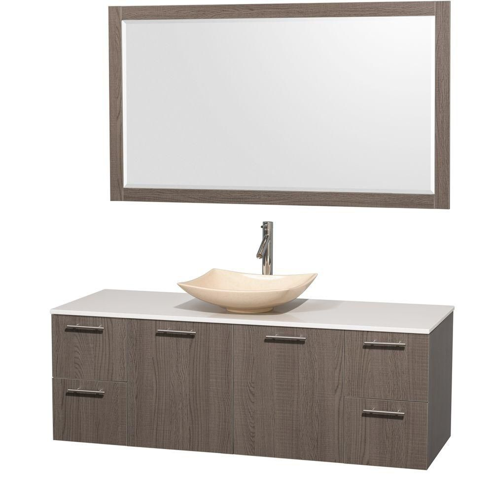 Amare 60-inch W Vanity in Grey Oak with Solid Top with Ivory Basin and Mirror