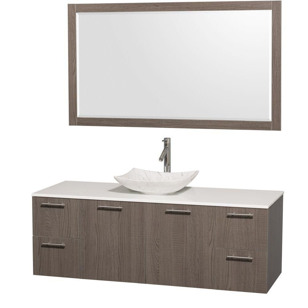 Amare 60-inch W Vanity in Grey Oak with Solid Top and 58-inch Mirror