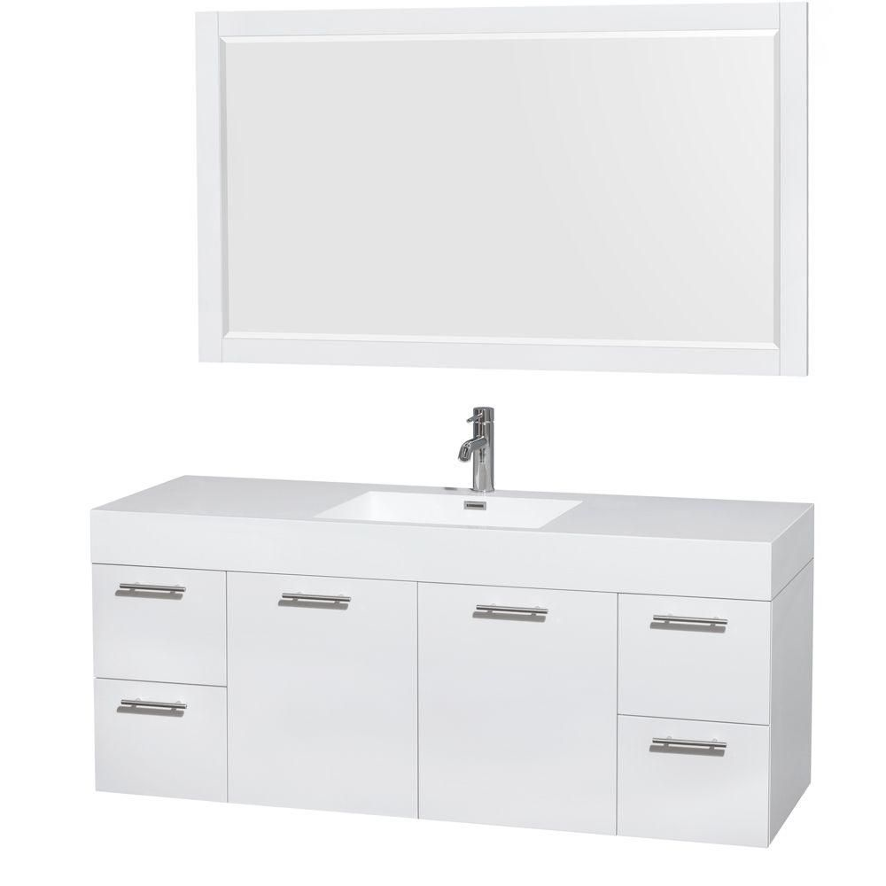 Amare 60-inch W Vanity in Glossy White with Acrylic-Resin Top and 58-inch Mirror