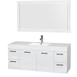 Wyndham Collection Amare 60-inch W 4-Drawer 2-Door Wall Mounted Vanity in White With Acrylic Top in White With Mirror
