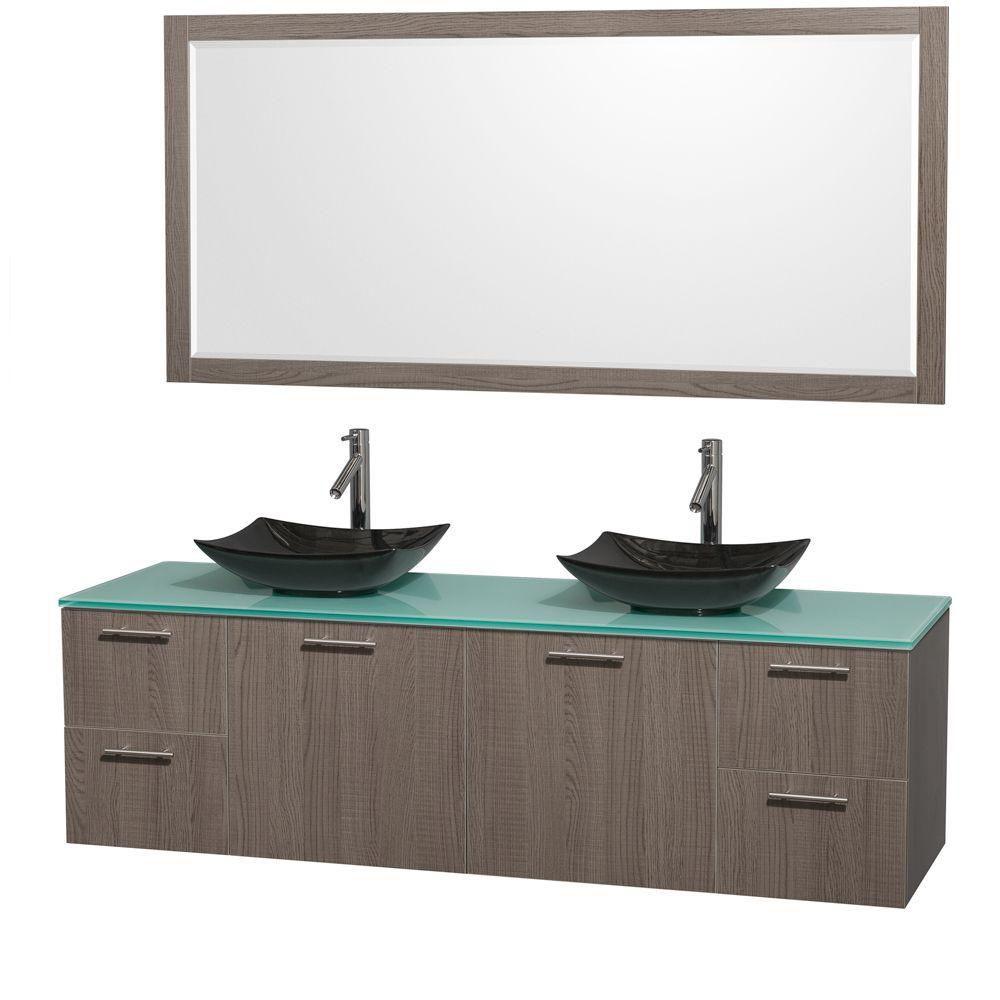 Amare 72-inch W Double Vanity in Grey Oak with Glass Top with Black Basins and Mirror
