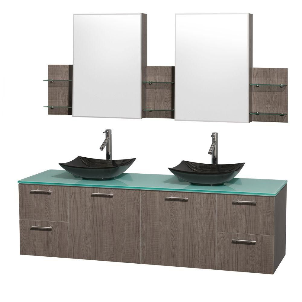Amare 72-inch W Double Vanity in Grey Oak with Glass Top with Black Basins and Medicine Cabinet