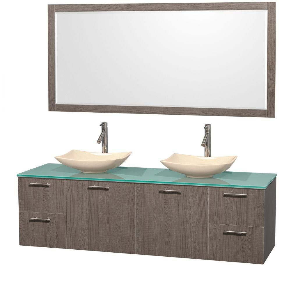 Amare 72-inch W Double Vanity in Grey Oak with Glass Top with Ivory Basins and Mirror
