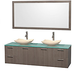 Wyndham Collection Amare 72-inch W 4-Drawer 2-Door Wall Mounted Vanity in Grey With Top in Green, Double Basins