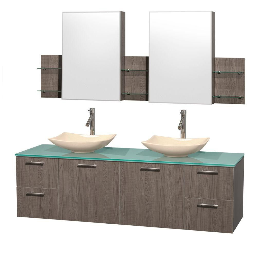 Amare 72-inch W Double Vanity in Grey Oak with Glass Top with Ivory Basins and Medicine Cabinet