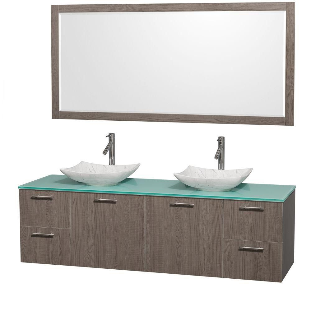 Amare 72-inch W Double Vanity in Grey Oak with Glass Top with White Basins and Mirror
