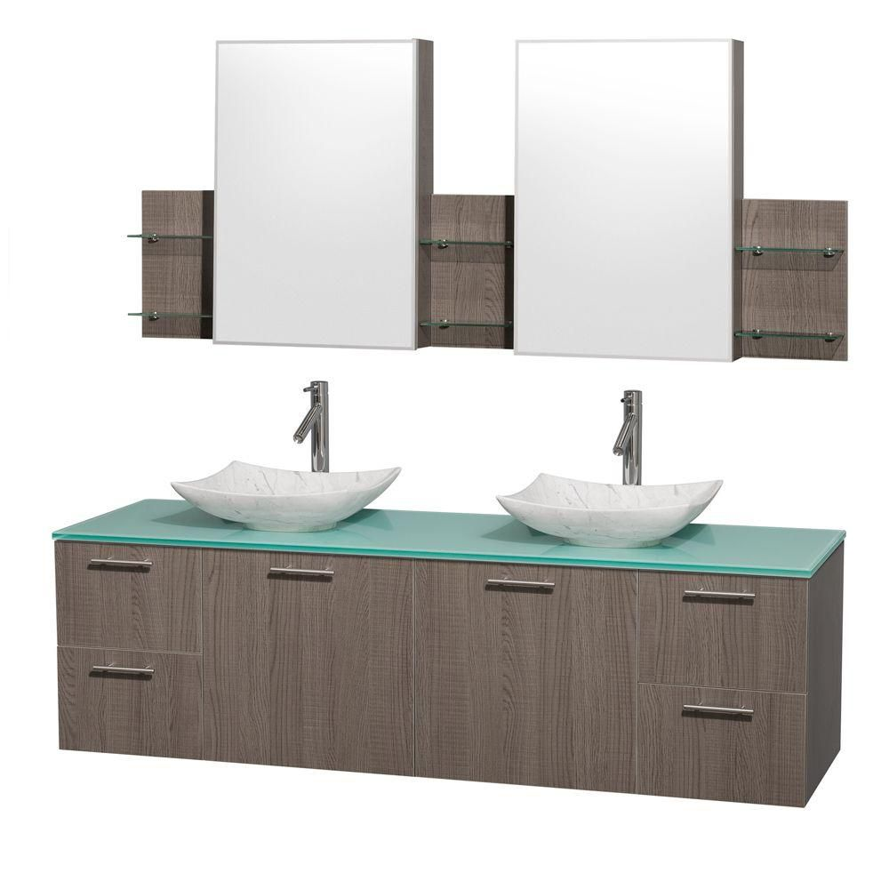 Amare 72-inch W Double Vanity in Grey Oak with Glass Top with White Basins and Medicine Cabinet