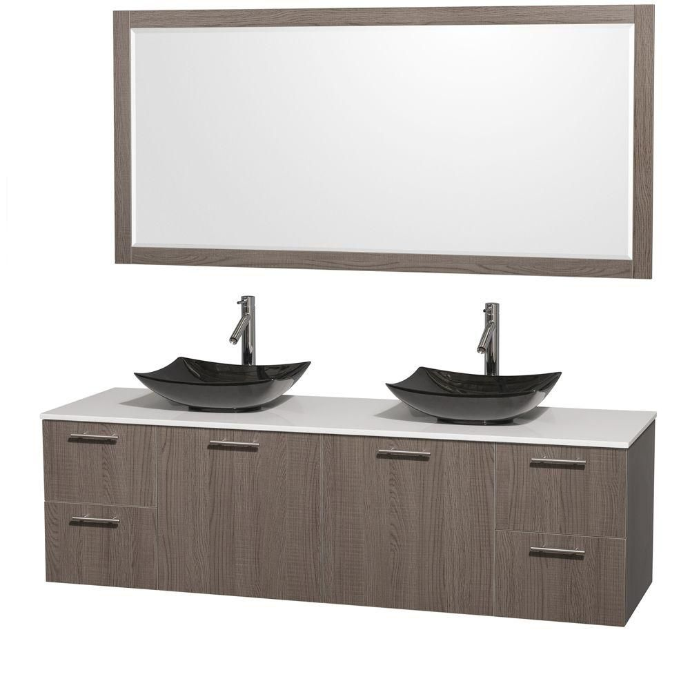 Amare 72-inch W Double Vanity in Grey Oak with Solid Top with Black Basins and Mirror