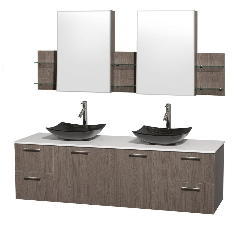 Amare 72-inch W Double Vanity in Grey Oak with Solid Top with Black Basins and Medicine Cabinet