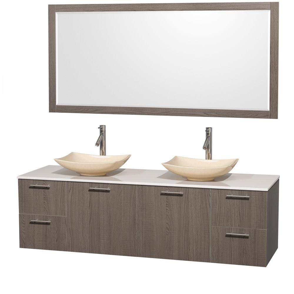 Amare 72-inch W Double Vanity in Grey Oak with Solid Top with Ivory Basins and Mirror
