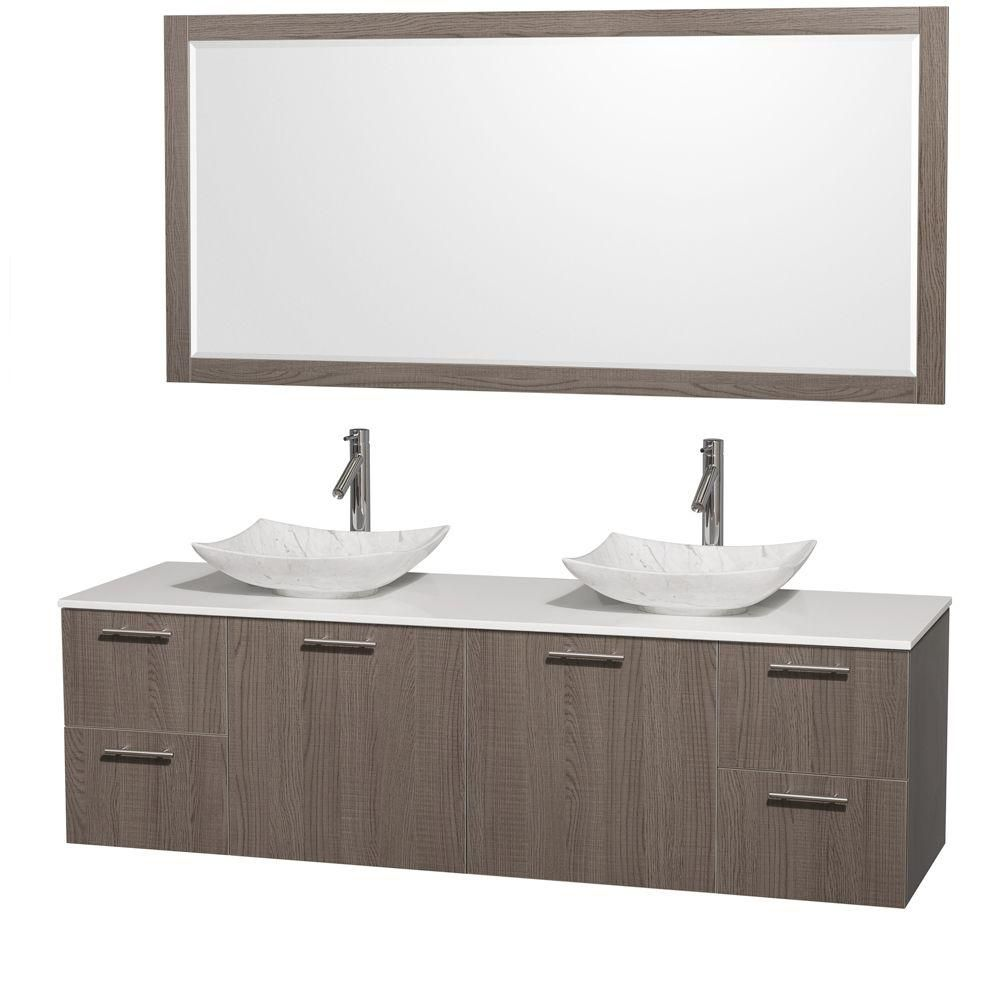 Amare 72-inch W Double Vanity in Grey Oak with Solid Top with White Basins and Mirror