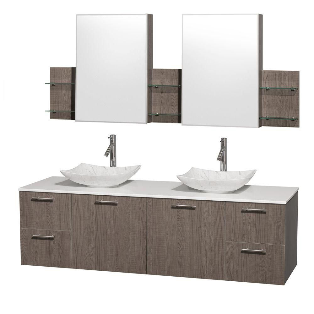 Amare 72-inch W Double Vanity in Grey Oak with Solid Top with White Basins and Medicine Cabinet