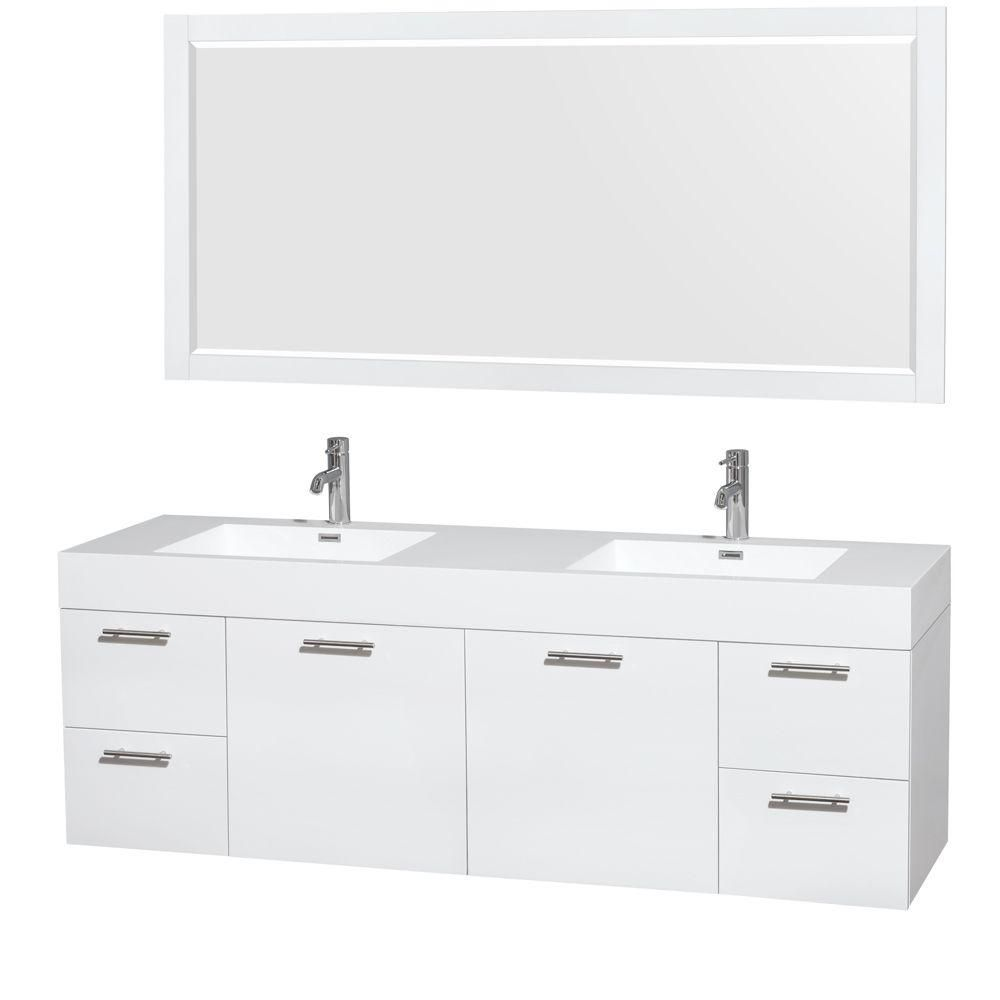 Amare 72-inch W Double Vanity in Glossy White with Acrylic-Resin Top and 70-inch Mirror