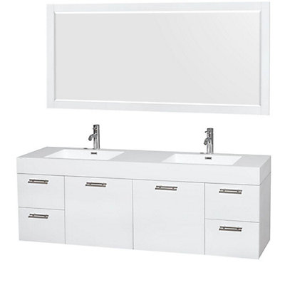 Wyndham Collection Amare 72 Inch W 4 Drawer 2 Door Wall Mounted Vanity In White With Acrylic Top Basins The Home Depot Canada