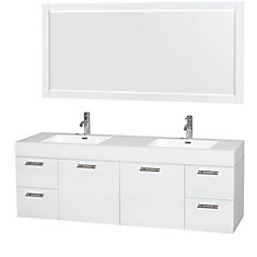 Amare 72-inch W 4-Drawer 2-Door Wall Mounted Vanity in White With Acrylic Top in White, 2 Basins