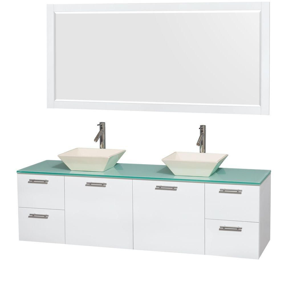 Amare 72-inch W Double Vanity in White with Glass Top with Bone Basins and Mirror