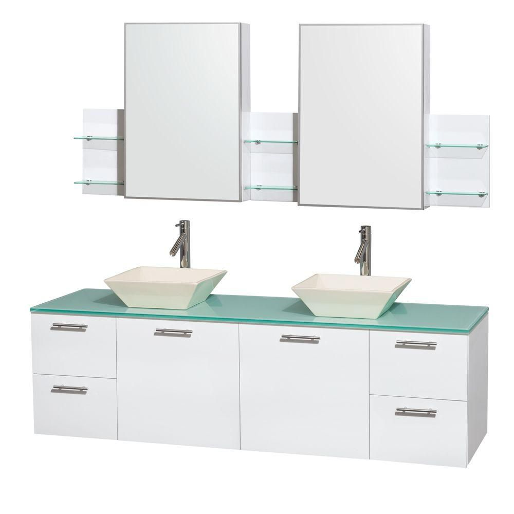 Amare 72-inch W Double Vanity in White with Glass Top with Bone Basins and Medicine Cabinet