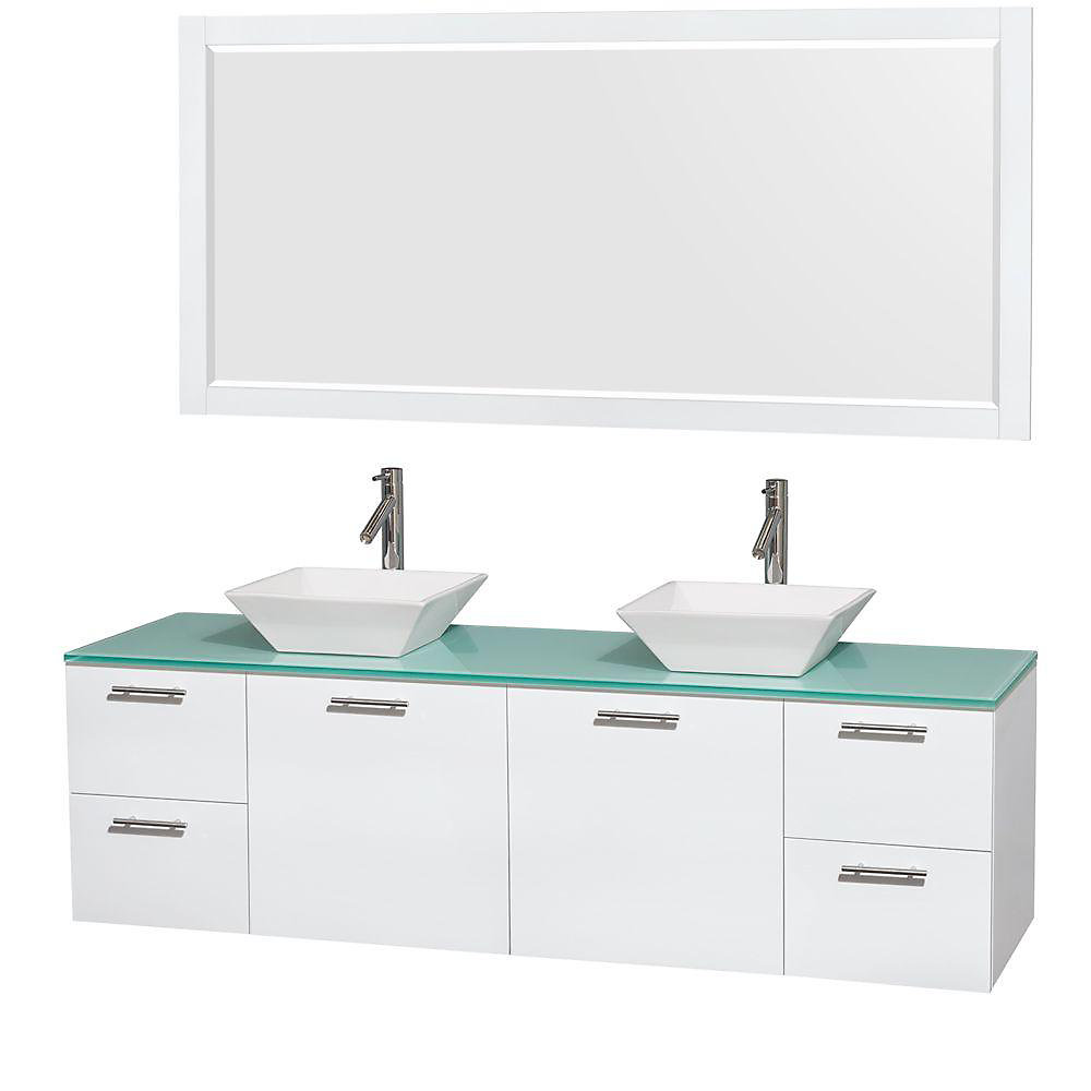 Amare 72-inch W 4-Drawer 2-Door Wall Mounted Vanity in White With Top in Green, Double Basins