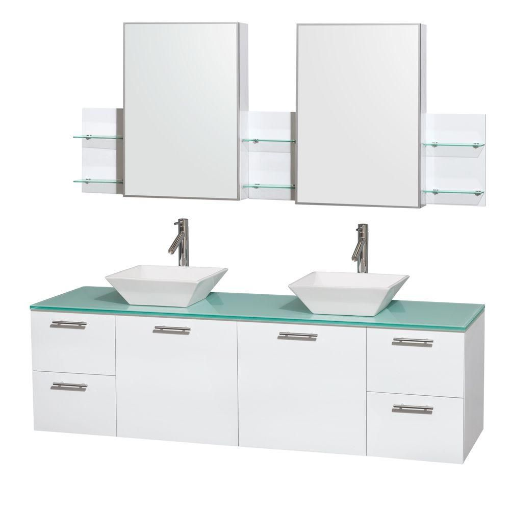 Amare 72-inch W Double Vanity in White with Glass Top with White Basins and Medicine Cabinet