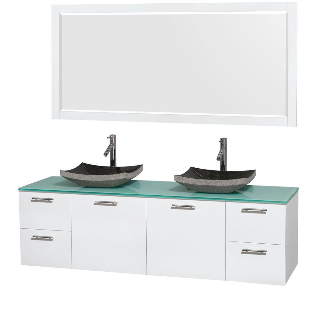 Amare 72-inch W Double Vanity in White with Glass Top with Black Basins and Mirror