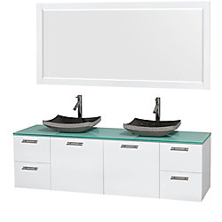 Wyndham Collection Amare 72-inch W 4-Drawer 2-Door Wall Mounted Vanity in White With Top in Green, Double Basins