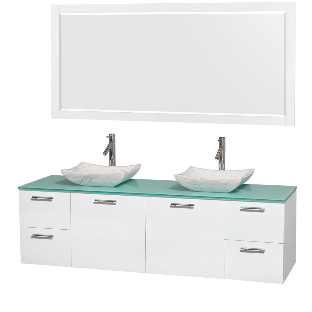Amare 72-inch W Double Vanity in White with Glass Top with White Basins and Mirror