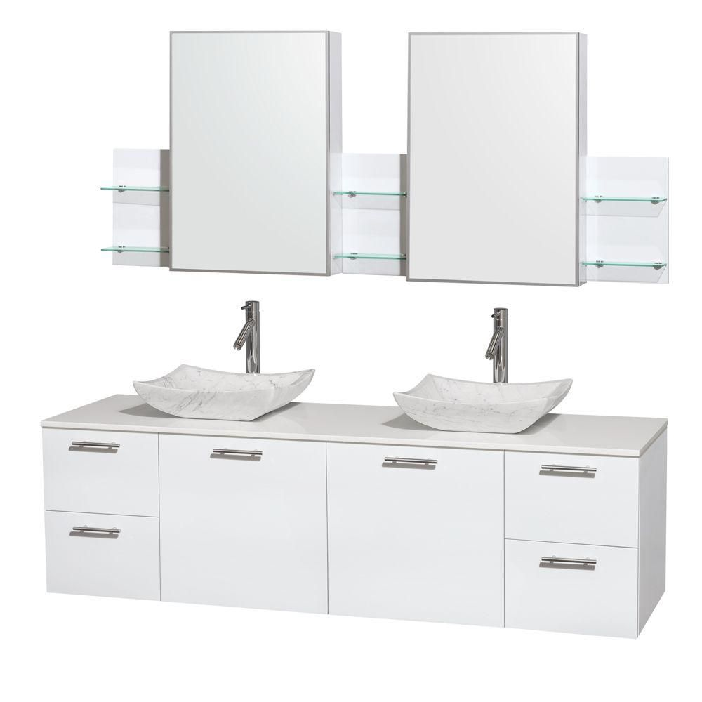 Amare 72-inch W Double Vanity in White with Solid Top with White Basins and Medicine Cabinet
