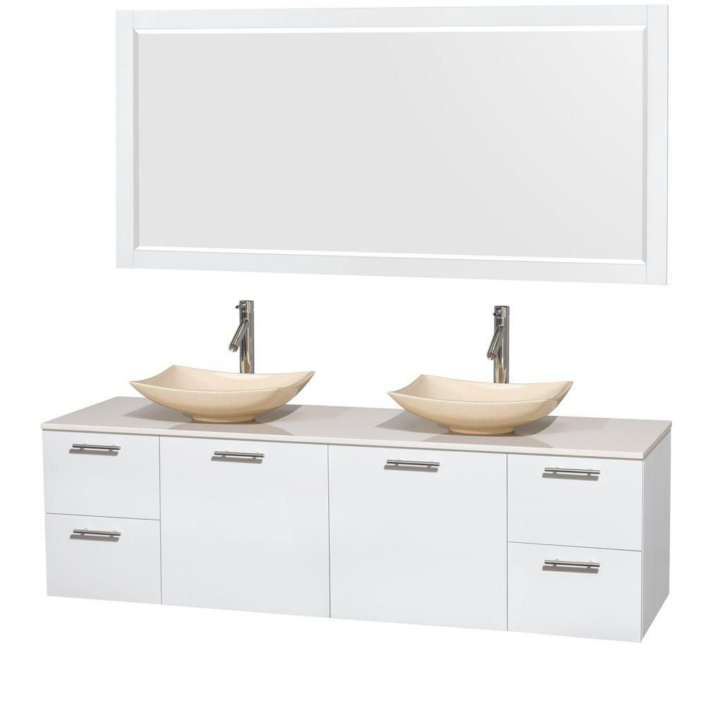 Amare 72-inch W Double Vanity in White with Solid Top with Ivory Basins and Mirror