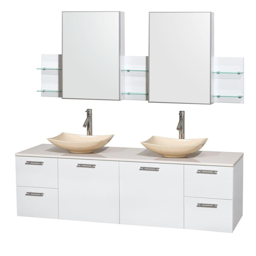 Amare 72-inch W Double Vanity in White with Solid Top with Ivory Basins and Medicine Cabinet