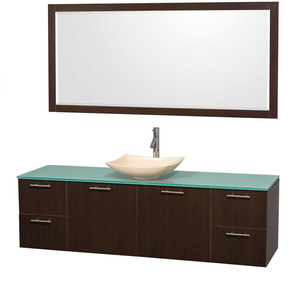 Amare 72-inch W Vanity in Espresso with Glass Top with Ivory Basin and Mirror