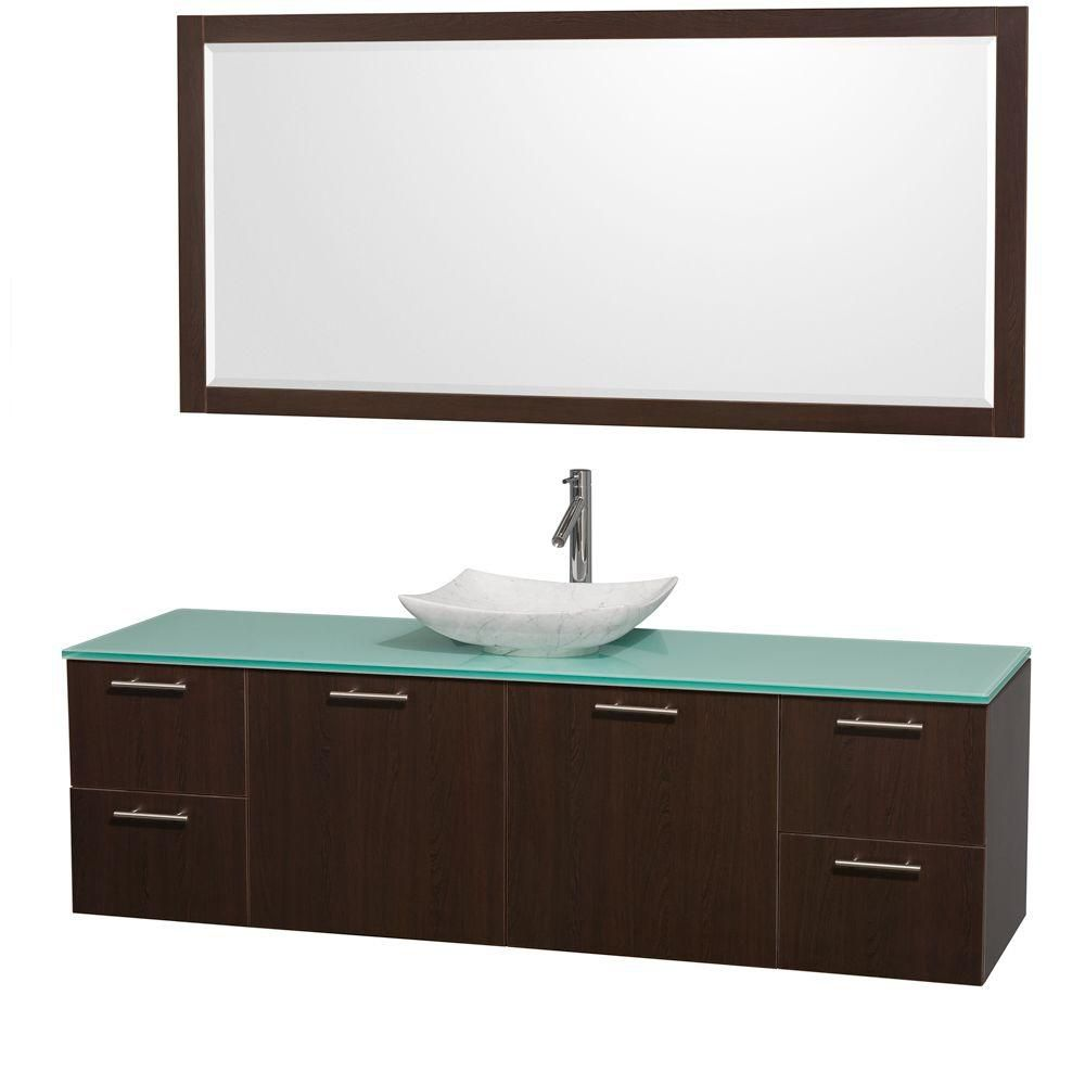 Amare 72-inch W Vanity in Espresso with Glass Top with White Basin and Mirror
