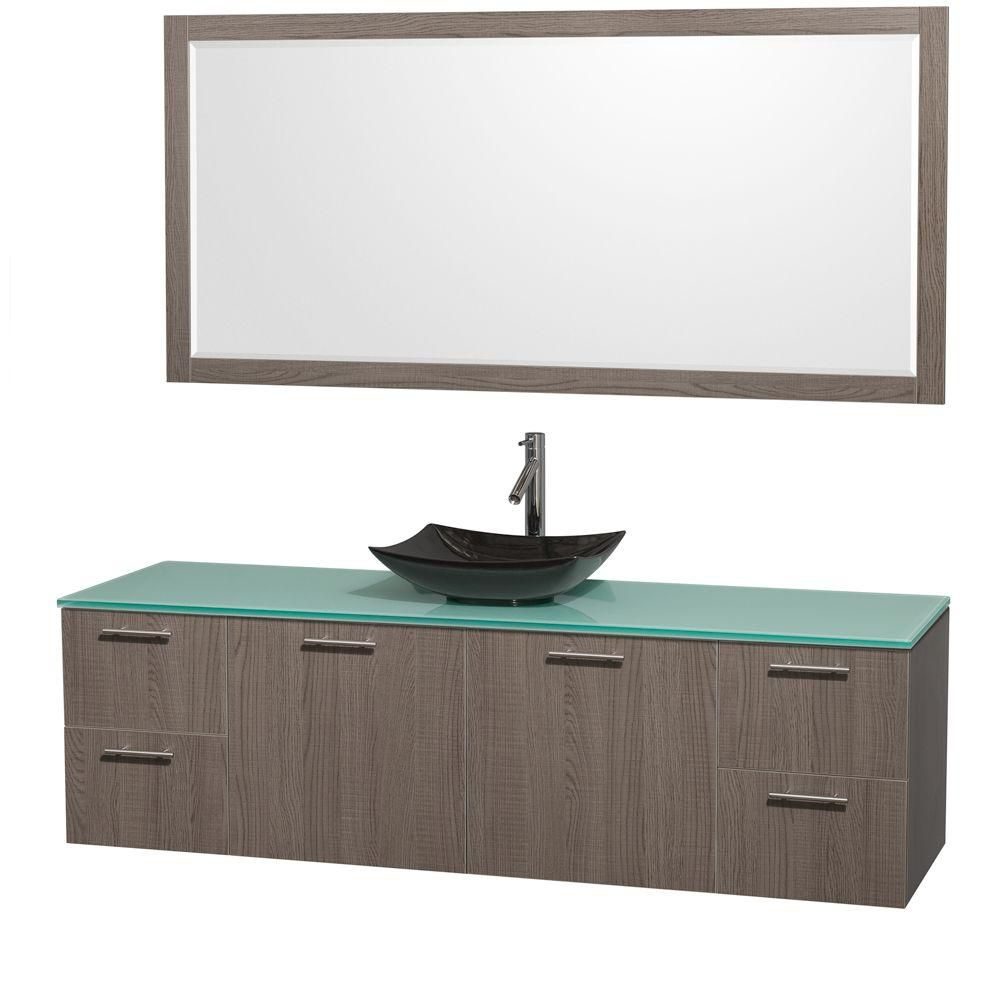 Amare 72-inch W Vanity in Grey Oak with Glass Top with Black Basin and Mirror