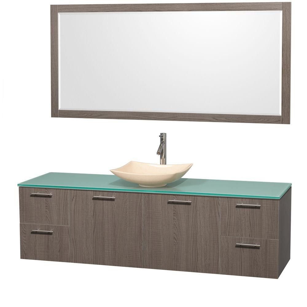 Amare 72-inch W Vanity in Grey Oak with Glass Top with Ivory Basin and Mirror