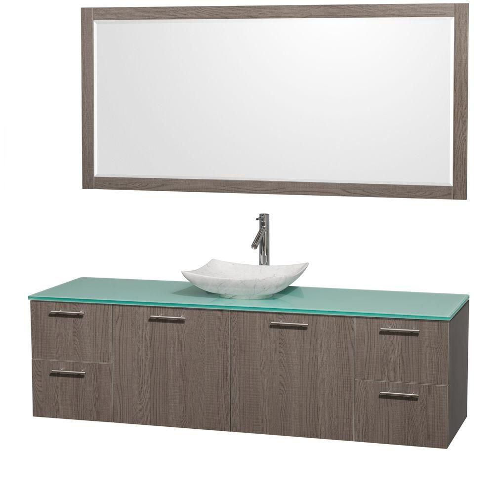 Amare 72-inch W Vanity in Grey Oak with Glass Top with White Basin and Mirror