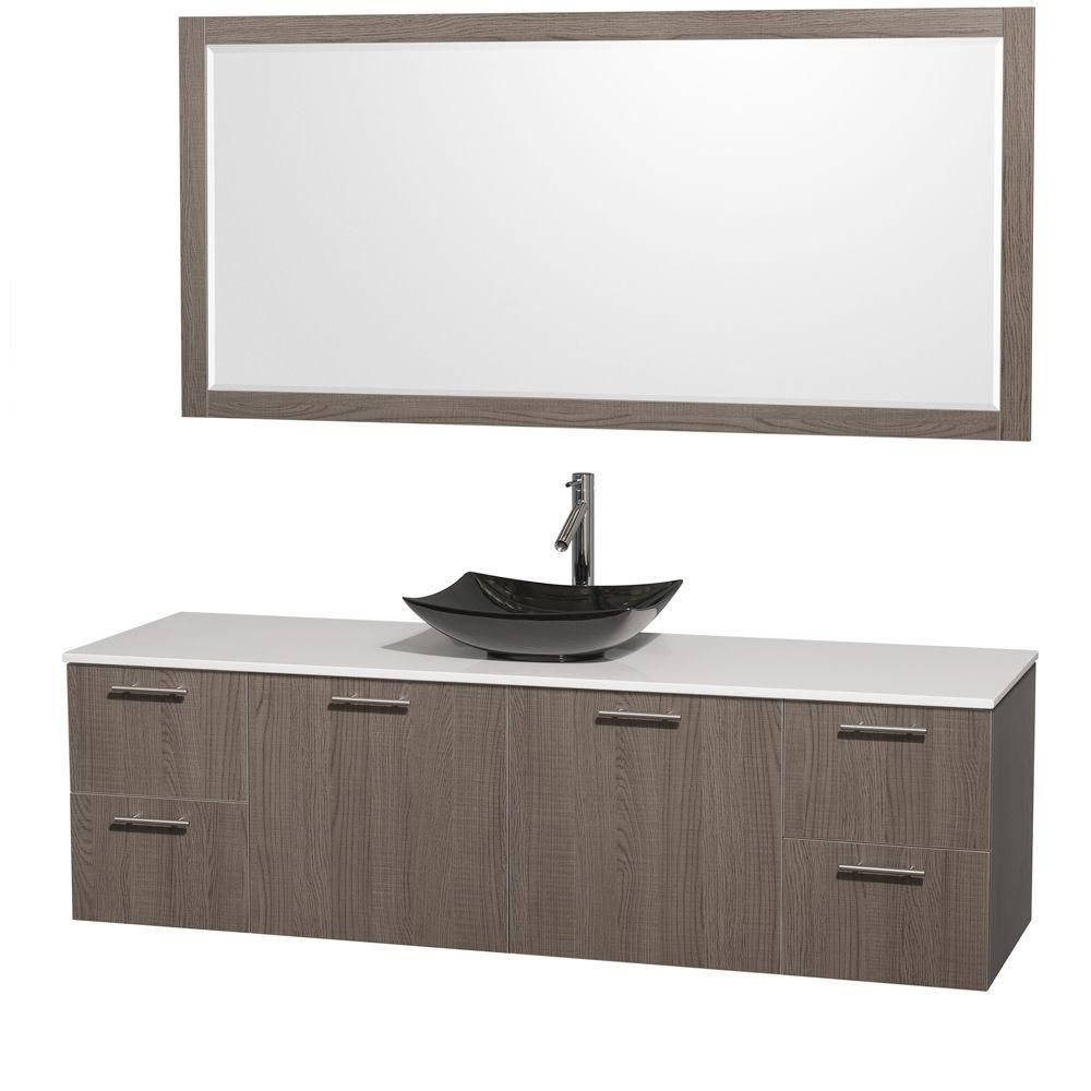 Amare 72-inch W Vanity in Grey Oak with Solid Top with Black Basin and Mirror