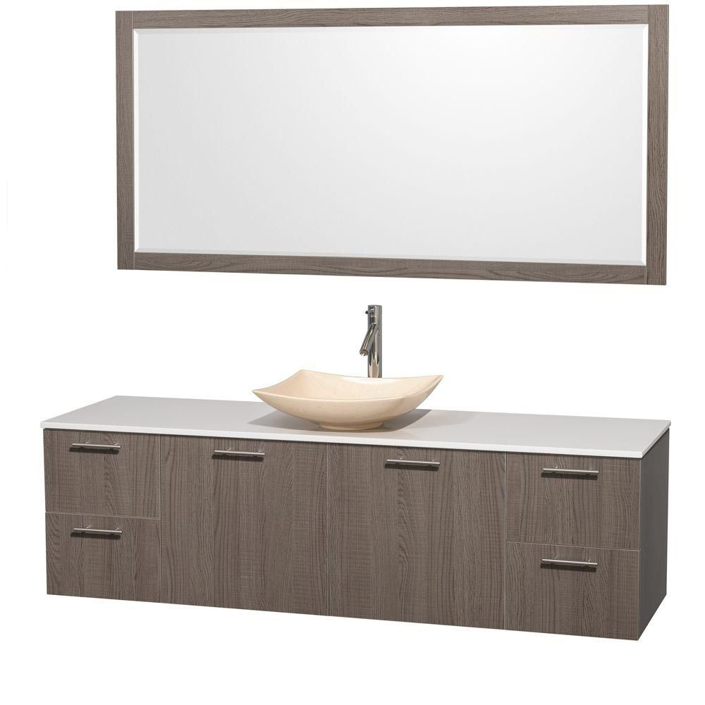 Amare 72-inch W Vanity in Grey Oak with Solid Top with Ivory Basin and Mirror