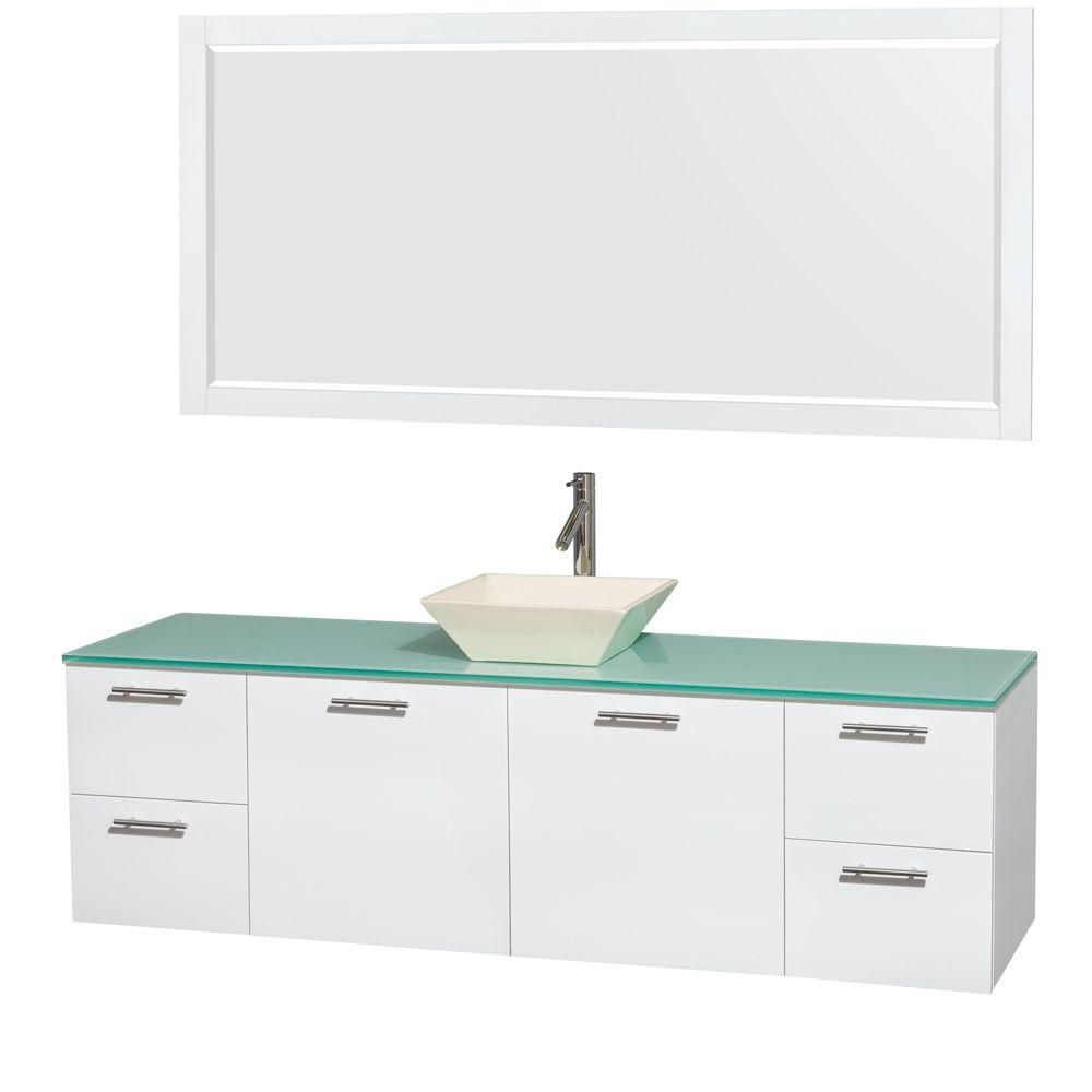 Wyndham Collection Amare 72-inch W 4-Drawer 2-Door Wall Mounted Vanity in White With Top in Green With Mirror