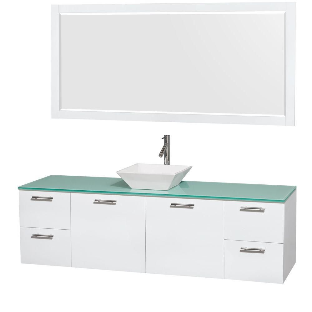 Amare 72-inch W Vanity in White with Glass Top with White Basin and Mirror