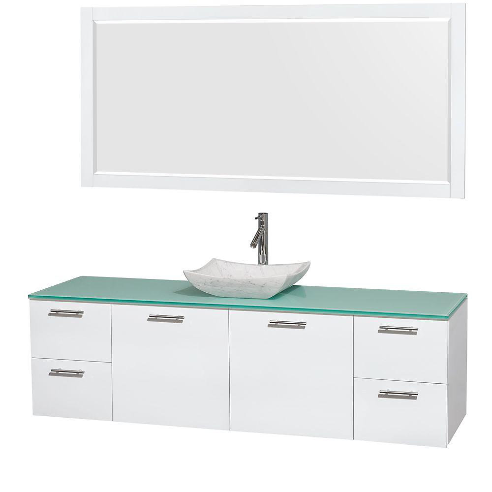 Amare 72-inch W 4-Drawer 2-Door Wall Mounted Vanity in White With Top in Green With Mirror